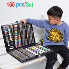 168 adet/takım sanat seti petrol Pastel mum boya renkli kalemler işaretleme kalemleri suluboya boya boyama çizim seti noel hediyesi çocuklar için
