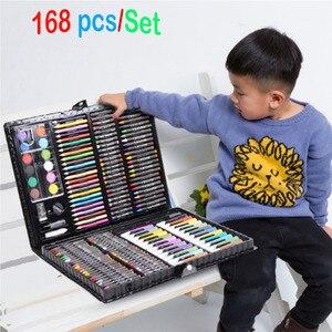Image 1 - 168 adet/takım sanat seti petrol Pastel mum boya renkli kalemler işaretleme kalemleri suluboya boya boyama çizim seti noel hediyesi çocuklar için