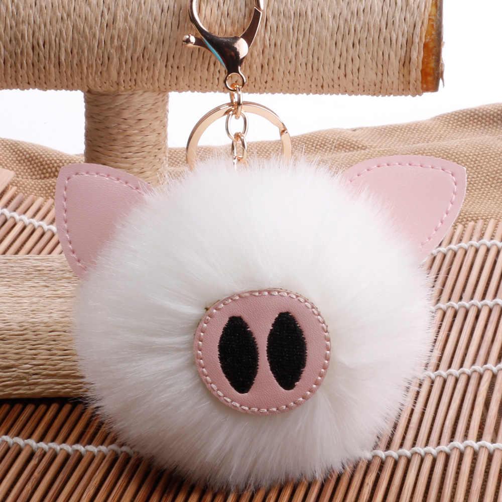 Bonito porco boneca de pelúcia crianças favores bola de pele chaveiro pingente menina feminino saco decoração do chuveiro do bebê brinquedo crianças aniversário presente natal