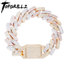 TOPGRILLZ Micro paved Cubic Zircon Big Box Clasp 20mm Cuban Bracelet Bling Hip hop Jewelry  AAA CZ Chain 7-9 Inch