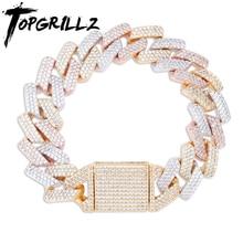 TOPGRILLZ Micro paved Cubic Zircon Big Box Clasp 20mm Cuban Bracelet Bling Hip hop Jewelry  AAA CZ Cuban Chain Bracelet 7 9 Inch
