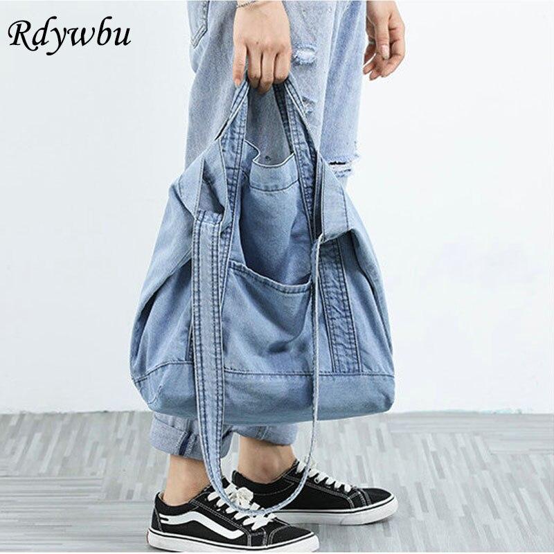 Women Denim Blue Shoulder Bag New Design Brand Female Canvas Jeans Tote Handbags Large Vintage Crossbody Travel Mochila B810
