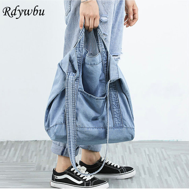 Bolsa de Ombro Mulheres Denim Azul Novo Design Marca Feminina Lona Jeans Tote Bolsas Grande Vintage Crossbody Bolsa Viagem B810