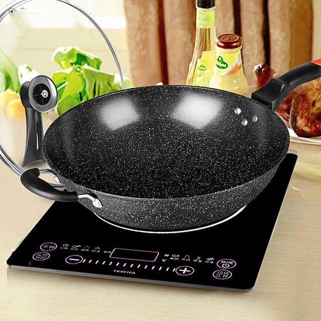 Pan Maifan Stone Wok Non stick Pan No smoke Induction Cooker Gas Stove 32CM34CM Stir fry Iron Pot Cooking Pot Kitchen Pots