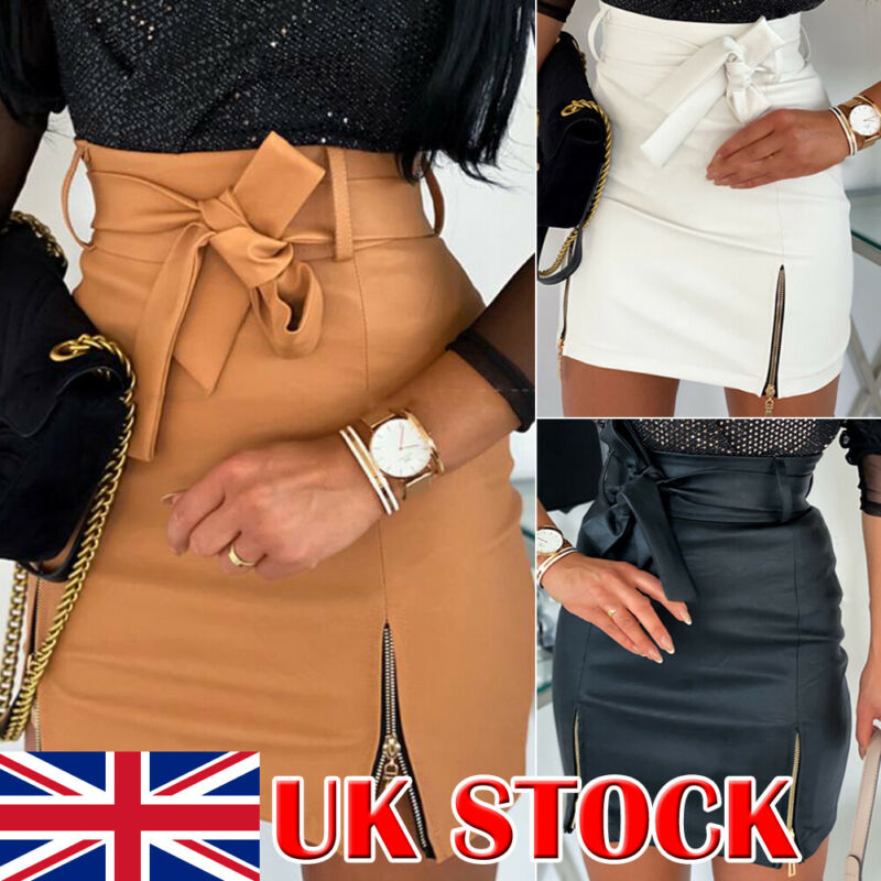 Fashion Women Skirt Mini Slim Skirt High Waist Stretch Zipper Up Lady Bandage PU Leather Preppy Pencil Bodycon Short Skirt
