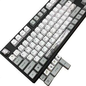 Китайская краска для мытья чернил, крашеная Кепка PBT, 5-сторонняя сублимационная механическая клавиатура, колпачки для ключей для MX Switches GH60 87...