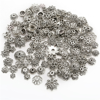 150pcs Tibetan Antique Silver Color Beads End Caps Flower Bead For Jewelry Making Findings Diy Accessories Wholesale Supply