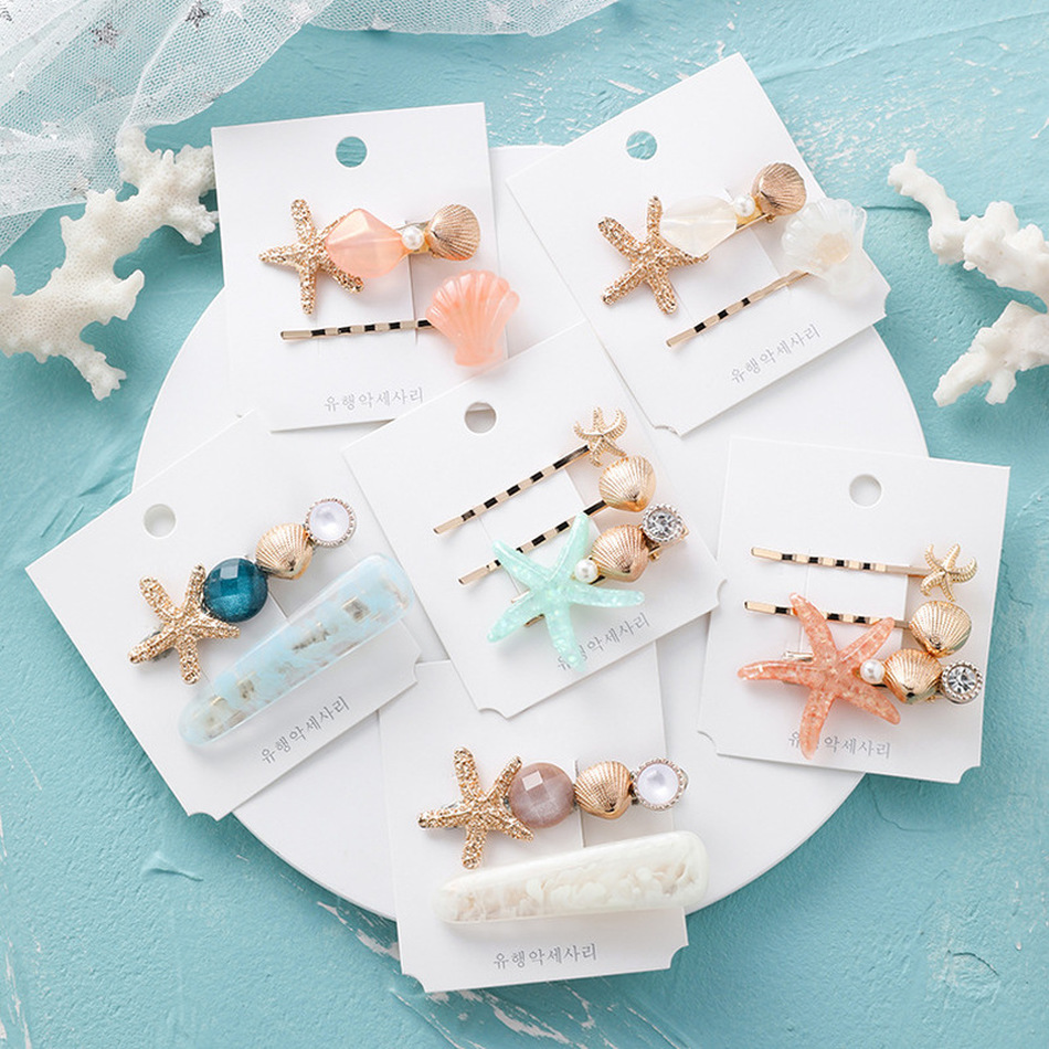 Korean Style Simple Cute Hair Pins Seashell Starfish Hair Clips For Girl Children Fashion Hair Accessories Wholesale