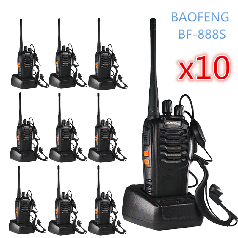 10PCS Baofeng BF 888S Walkie Talkie 6km Two Way Radio  Portable Hunting CB Ham Radio FM HF Transceiver Wireless Intercom BF888S