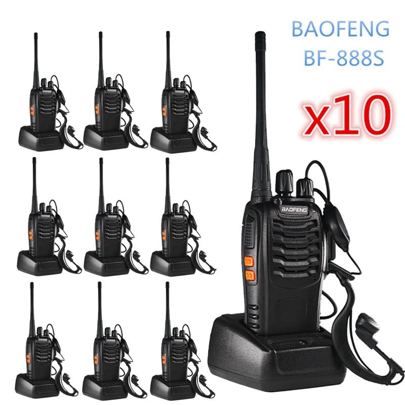 10PCS Baofeng BF 888S Walkie Talkie 6km Two Way Radio  Portable Hunting CB Ham Radio FM HF Transceiver Wireless Intercom BF888S