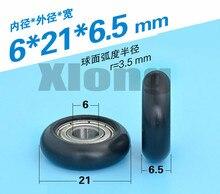 10PCS 6*21*6.5mm 696 Bearing Plastic-Coated Pulley Arc Surface Spherical POM Nylon Wheel Showcase Drawer Guide Wheel