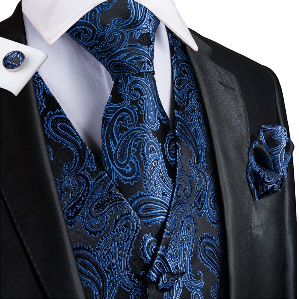 Suit Vest Men Silk Vest Blue V-neck Floral Waistcoat Tuxedo Paisley Tie Set Cufflinsk For Wedding Business Hi-Tie VE-0010 S-XXXL