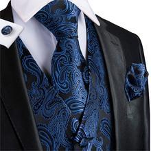 Suit Vest Men Silk Blue V-neck Floral Waistcoat Tuxedo Paisley Tie Set Cufflinsk for Wedding Business Hi-Tie VE-0010 S-XXXL