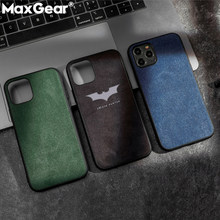 Luxury Suede Leather i Phone Cases For iPhone 11 Pro XS MAX XR X Batman Soft Silicone Cover For iPhone 6 6S 7 8 Plus Funda Coque(China)