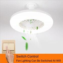 Современный минималистичный Белый окрашенный Железный потолочный вентилятор, светильник, декоративный светодиодный светильник с регулир...