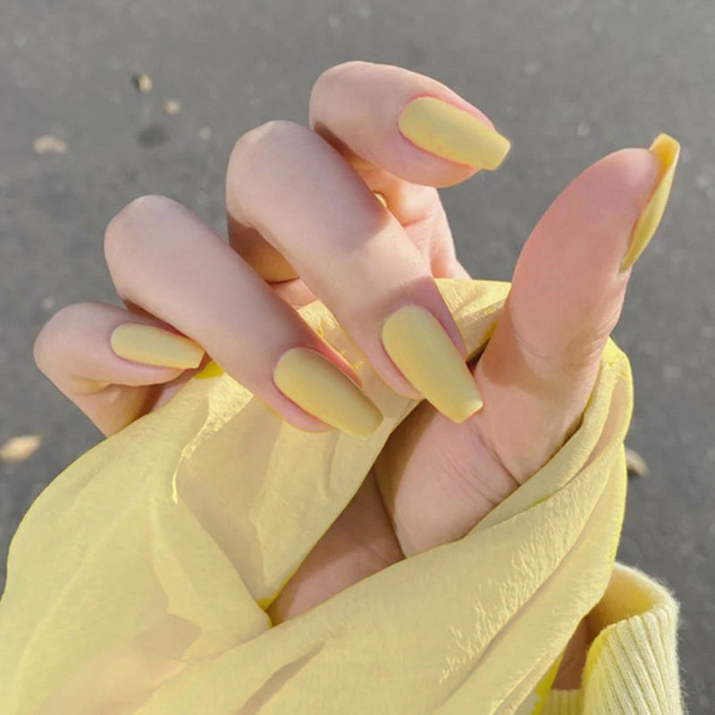 24pcs/box Full Cover fake Press on Nails Matte Yellow Pure Acrylic Frosted Ballerina acrylic for nails for Women and Girls