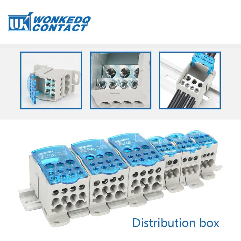 UKK 80A DIN Rail Terminal Blocks หนึ่งหลาย OUT Power Distribution BLOCK กล่อง Universal ไฟฟ้าลวดเชื่อมต่อกล่อง
