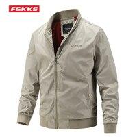 FGKKS casuales de los hombres de chaqueta delgada de primavera y otoño de luz de Color sólido de cuello Chaqueta Slim para hombre trabajo sin capucha chaqueta