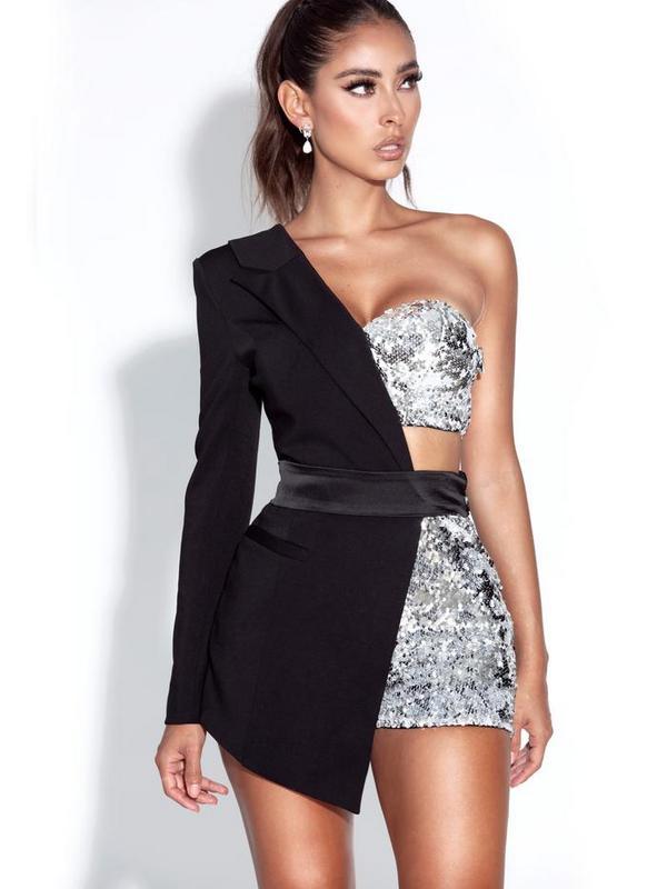New 2021 Fashion New Women'S Jumpsuit Black Patchwork Sexy One Shoulder Sequin Bodysuit Club Celebrity Party Female Streetwear