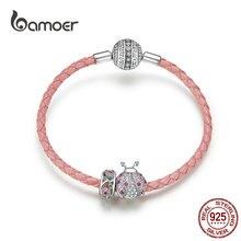 Bamoer abalorio de plata para mujer, con forma de mariquita rosa y cuentas de flores, pulsera de cuero de Plata de Ley 925, joyería de lujo SCB823