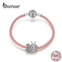 bamoer Pink Ladybug Insert and Flower Beads Silver Charm for Women Leather Bracelet Sterling Silver 925 Luxury Jewelry SCB823