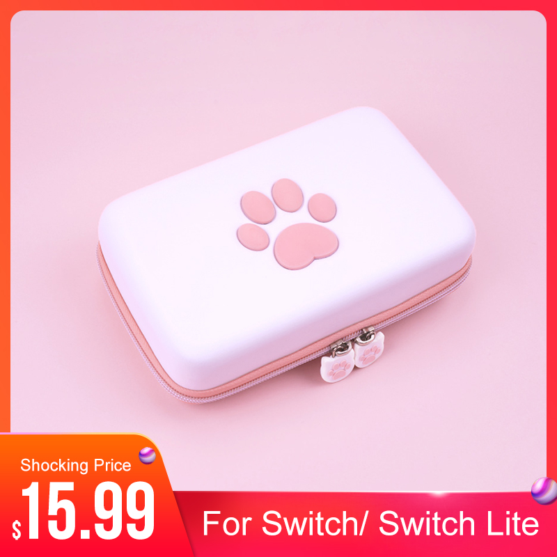 Cute Paw for Switch Travel Carrying Case for Nintendo Switch Lite Games Hard Shell Portable Storage Bag