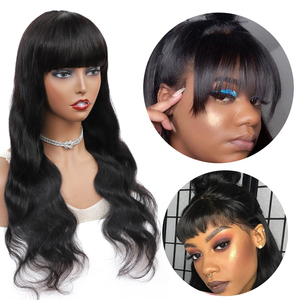 Image 5 - Body Wave Wig Glueless Wigs with Bangs 26 28 Inch Wigs Non Lace Front Human Hair Wigs For Black Women Remy Malaysian Wig