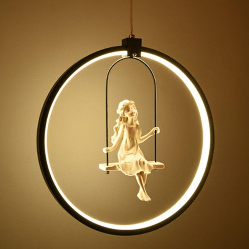 Nordic Aluminum Ring Girl Swing Pendant Light For Living Room Bedroom Study Lovely Bird Hanging Lamp Art Deco Kids Light Fixture