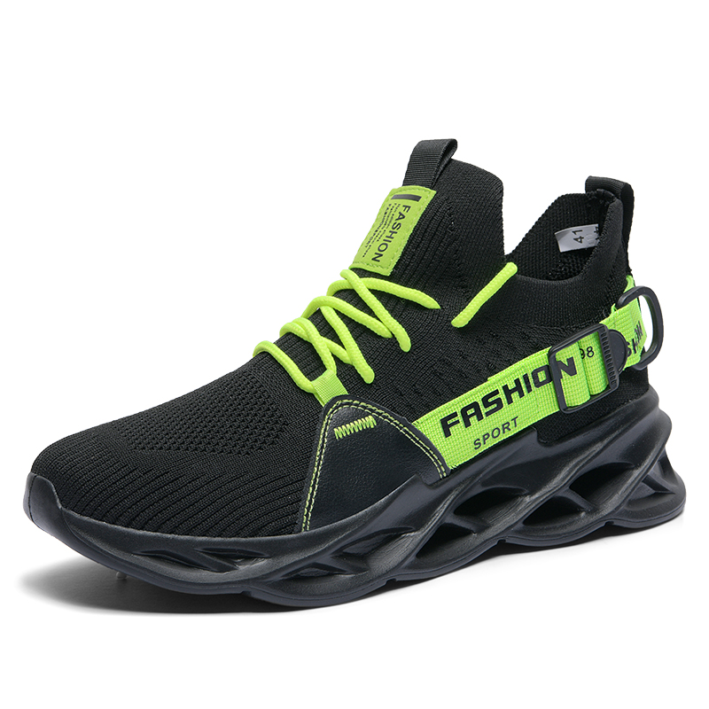 G133 Black Green-Outdoor Men Sports Shoes High Quality Lace-up Breathable Sneakers