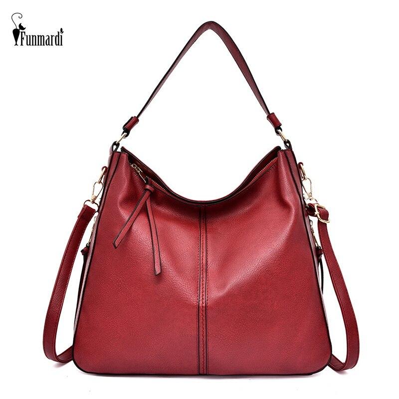 FUNMARDI Casual Big Tote Bags Soft PU Leather Women Handbags Vintage Patchwork Shoulder Bags Female Messenger Bags WLHB2096