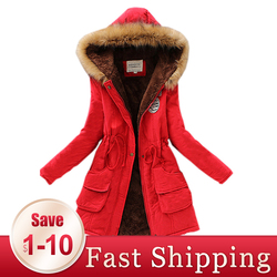 2020 Red Parkas Female Women Winter Coat Thickening Cotton Winter Jacket Womens Outwear Overcoat Lower Price Clearance sale
