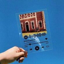 Placa acrílica personalizada da música do álbum de fotos da música do código do spotify da placa acrílica