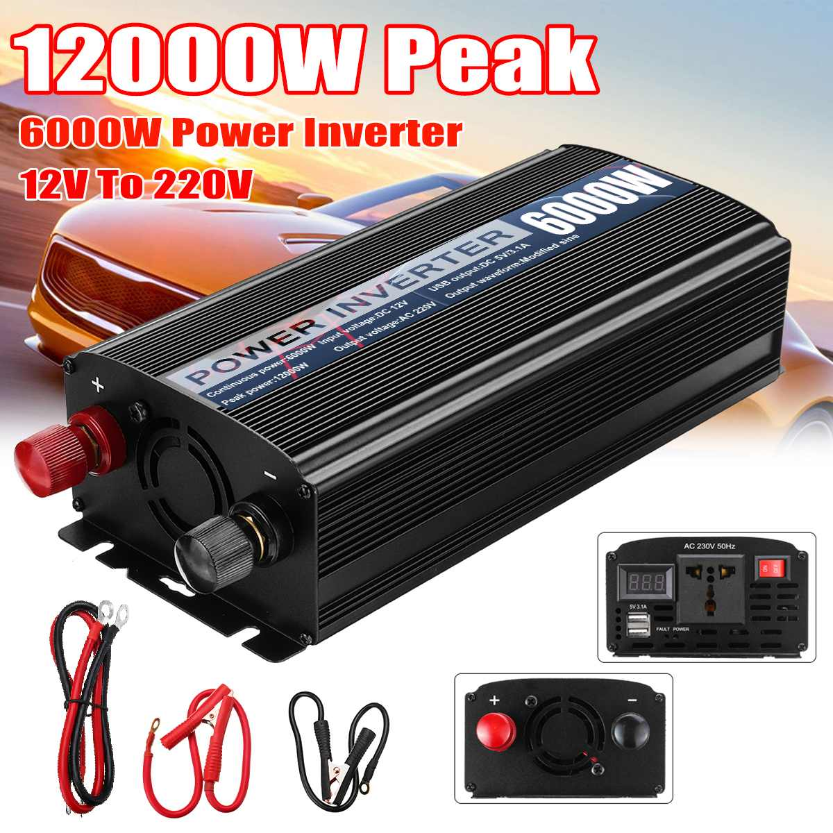 Inverter Max 12000W DC 12V zu AC 220V Dual USB Auto Power Inverter Ladegerät Converter Adapter Geändert sinus Welle Transformator
