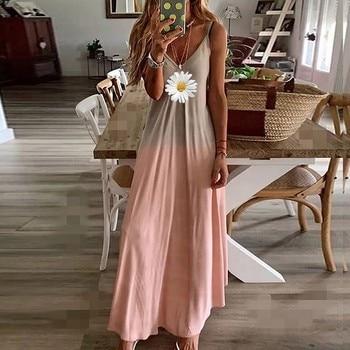 Dresses For Women 2021 Summer Womens Tie-dye Beach Pullover Maxi Boho Sundress Loose Long Slip Dress Jupe Longue Femme 1