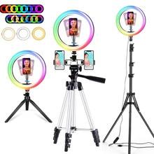 10 Polegada led rgb anel luz profissional selfie ringlight maquiagem lâmpada estúdio de vídeo com tripé suporte para youtube tik tok