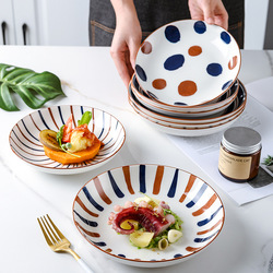 Ceramic bowl main dish plate household ceramic dish eating bowl western steak dinner plate ceramic plate round plates