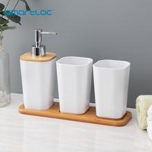 Bathroom-Accessories-Set Soap-Dispenser Tumbler Bamboo-Tray Bottle-Toothbrush-Holder