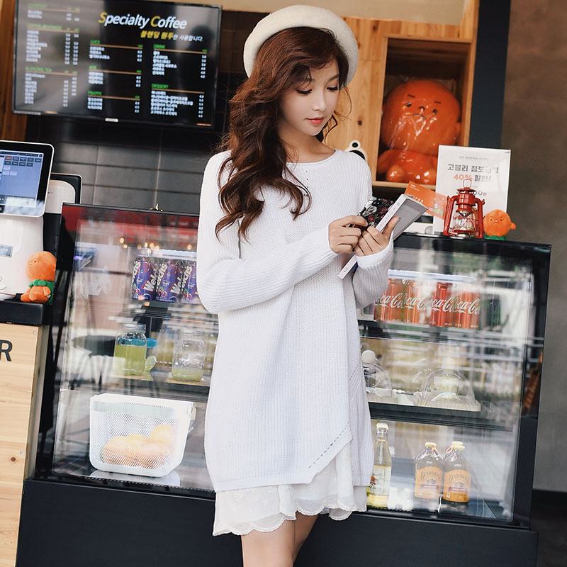 Dabuwawa Spring White Long Sleeve Knitted Dress for Girls Women Female Loose Casual Two piece Mini
