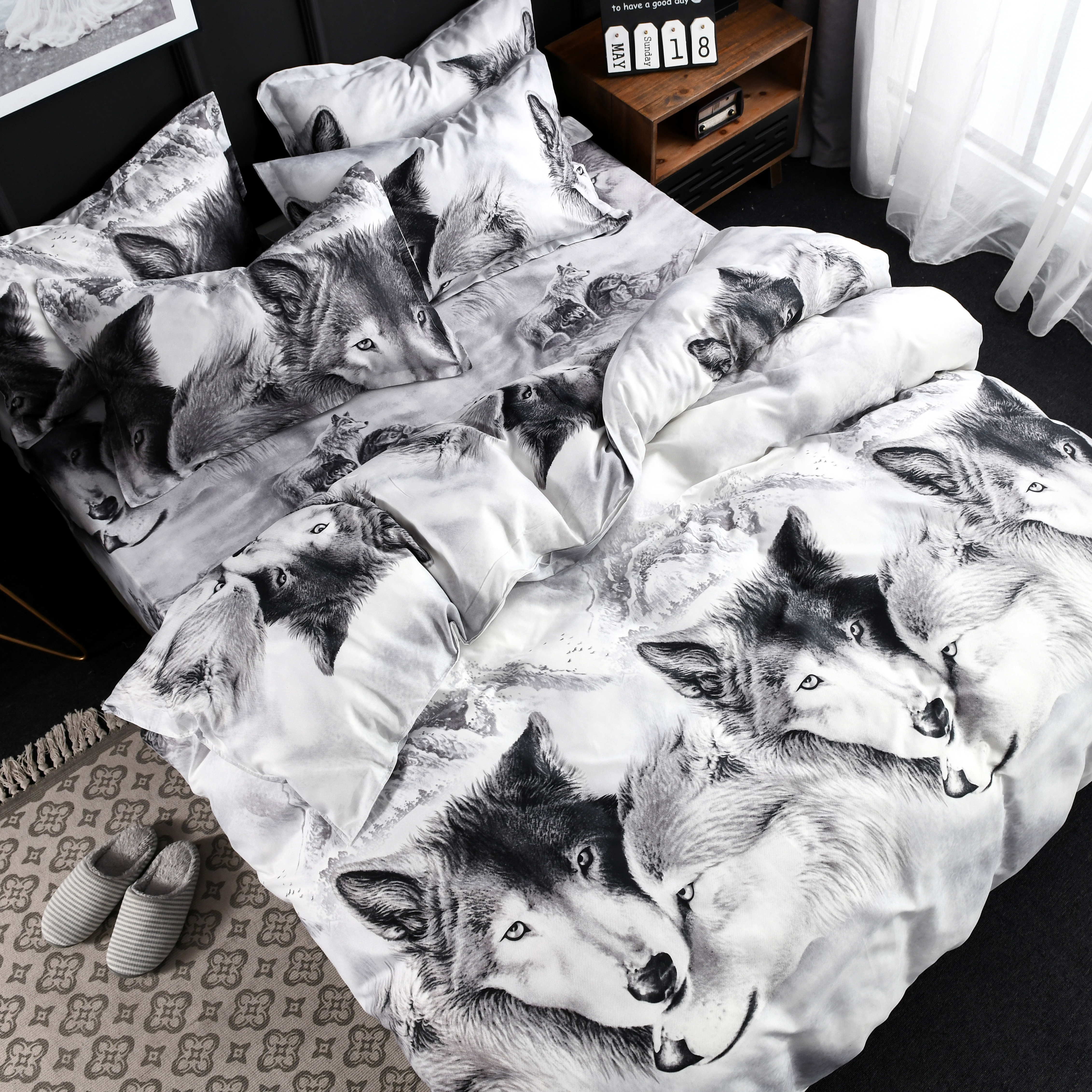 Hot Sale Fashion Design Bedding Set 3d White Wolf Quilt Cover Article Four