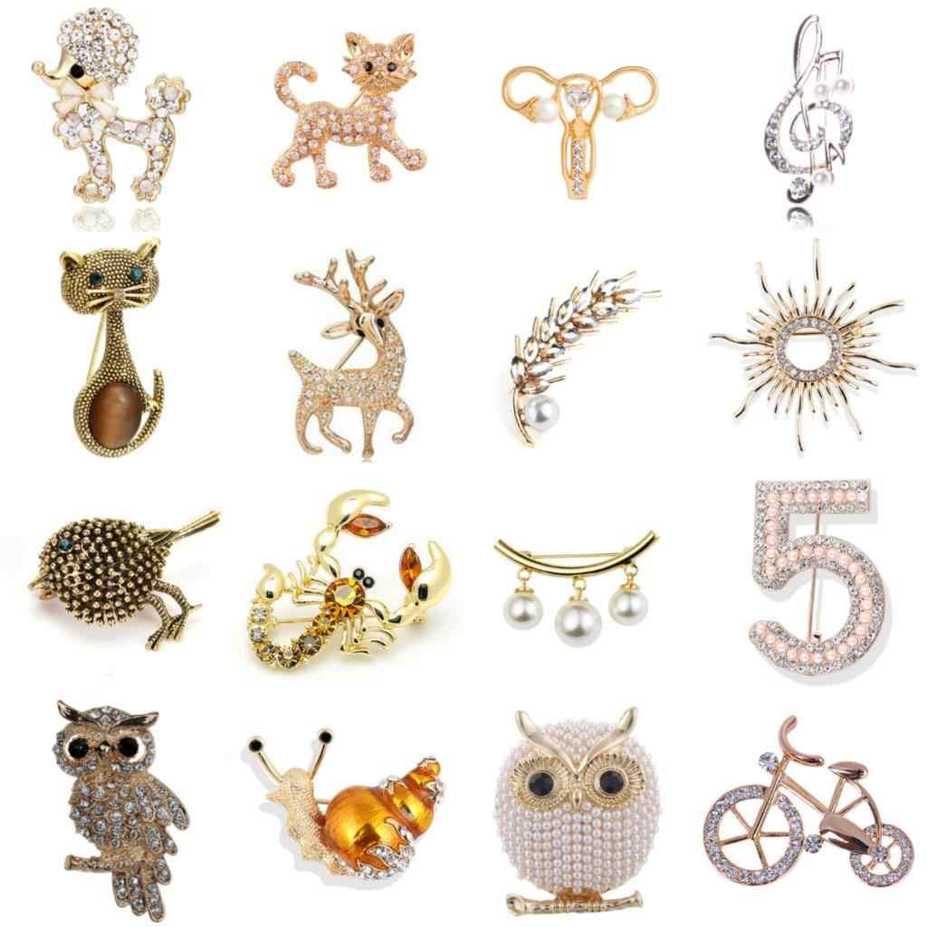 1x ゴールドカラー犬猫蜂魚鳥鹿フクロウ自転車カタツムリブローチ襟ピンコサージュ動物バッジジュエリー女性子供ブローチ
