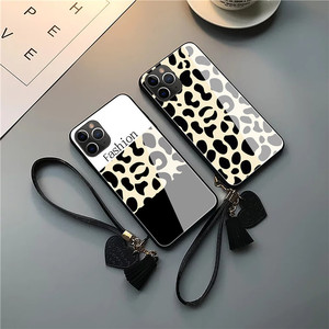 Image 3 - Fashion leopard pattern tempered glass luxury phone case for iphone 11 lot pro max x xr xs max 8 7 6s plus cover soft edge women