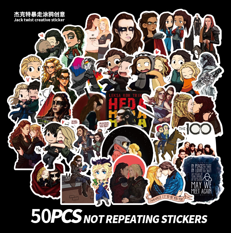 50pcs The Hundred/The 100 Graffiti Stickers Cartoon Decals Stickers Gifts For Children To Laptop Suitcase Guitar Fridge Bicycle
