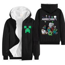 black Minecraft winter Plush jacket children game cartoon cotton boys and girls long-sleeved hooded jacket clothes boys jacket недорого