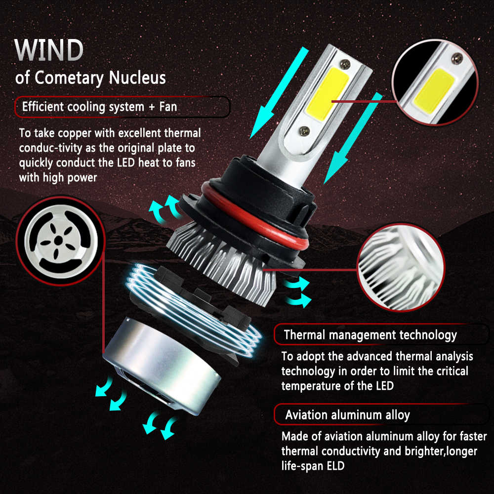 2pcs c6 car led Headlight Bulbs super white H4 H11 h7 9006 9007 Head lights 24v 12V 6000K Auto Fog Lamps Combo low high beam
