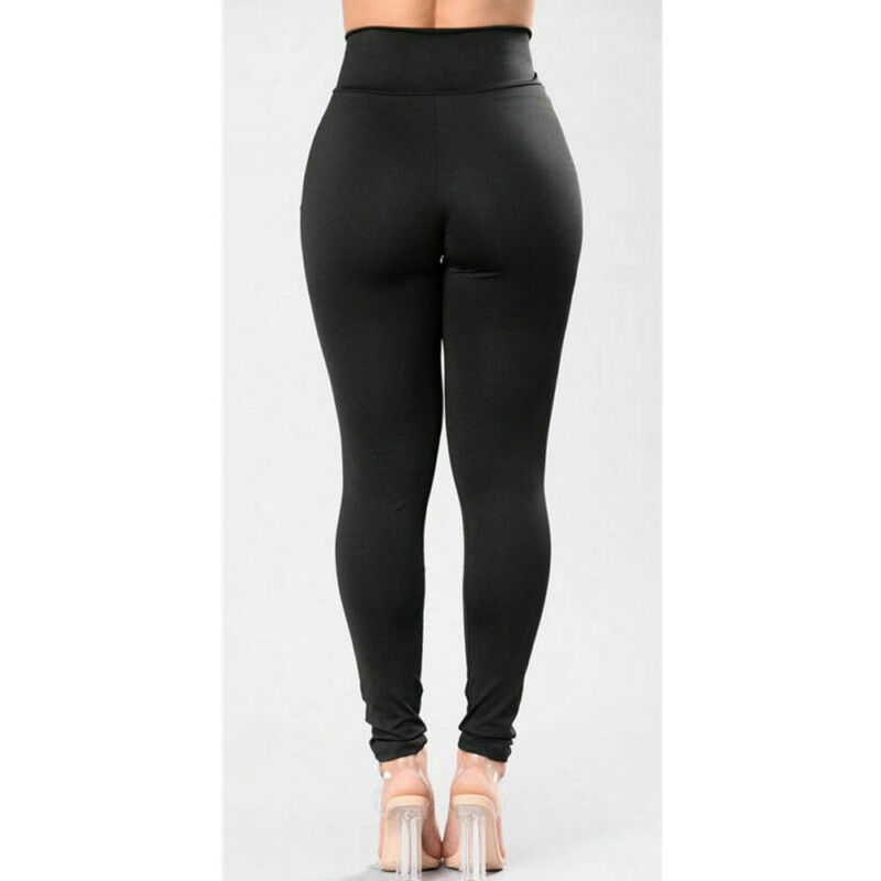 Women Casual Style Leggings Solid Pattern Type High Waist Type Standard Thickness Ankle-Length 2020 New Fashion