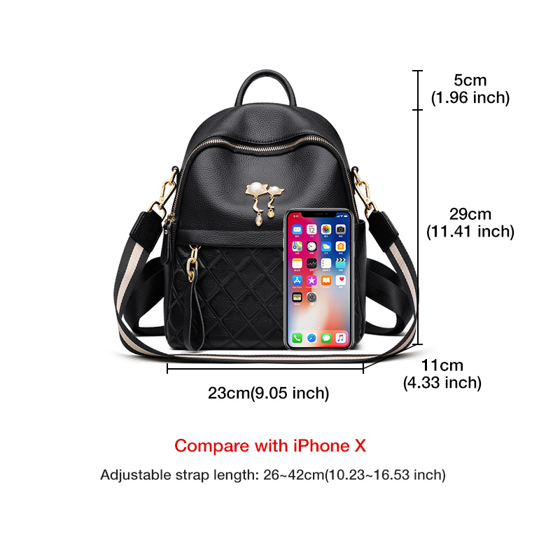 Foxer Satchely Genuine Leather Women Backpack Black