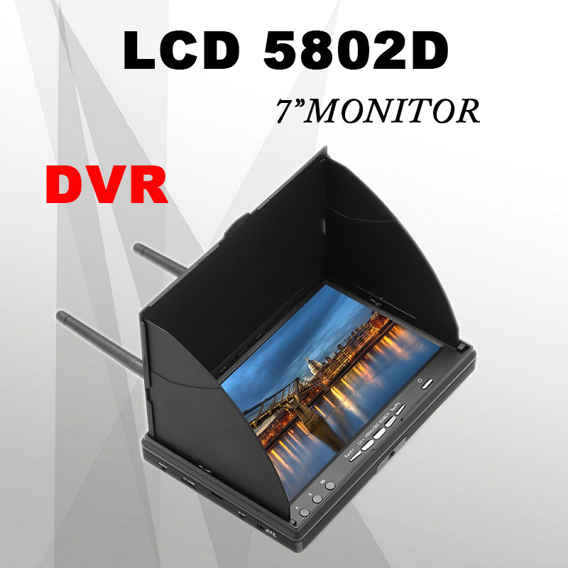 FPV LCD5802S 5802 40CH Raceband 5.8G 7 Inch Diversity Receiver Monitor 800*480 with Build-in Battery for FPV RC Quadcopter Drone