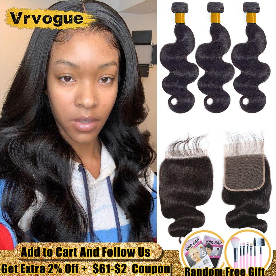 Body Wave Bundles With 6x6 Closure Remy Human Hair Bundles With Closure Peruvian Hair 3 Bundles With Closure Vrvogue Hair 4 Pcs