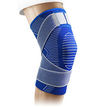 New Blue Knitting Compression Knee Support Sleeve Pad, with Anti-Slip Strap for Sports Fitness, Men and Women