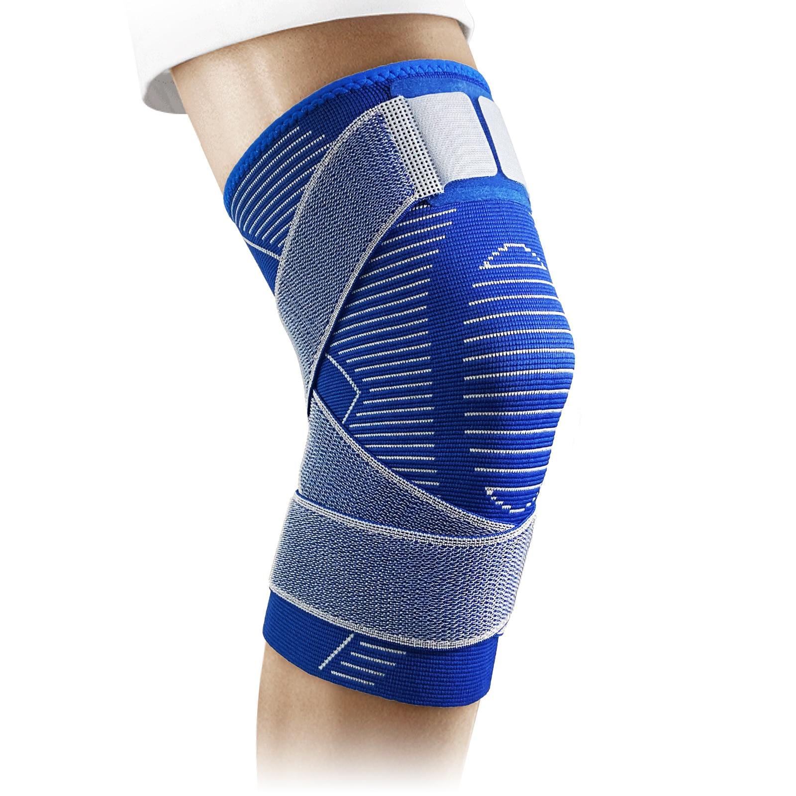 Nova almofada de manga de apoio de joelho de compressão de tricô azul, com alça antiderrapante para fitness esportivo, masculino e feminino